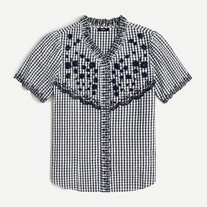 J Crew Embroidered Gingham Top